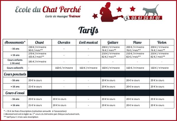 Ecole du Chat Perché - Tarifs 2015-2016